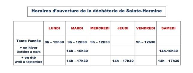 Horaires d'ouverture de la déchèterie de Sainte-Hermine