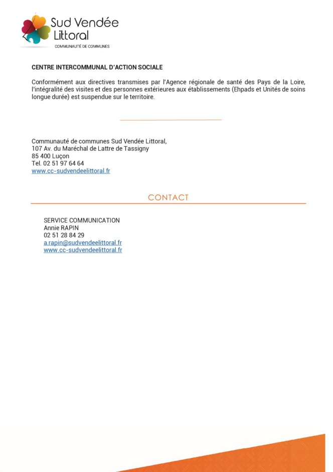 Communiqué de presse - Communauté de Communes Sud Vendée Littoral