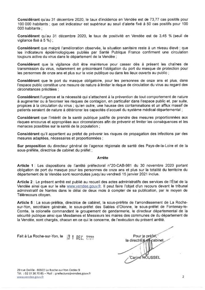 Obligation du port du masque sur l'ensemble du territoire du département de la Vendée jusqu'au 15 janvier 2021 inclus