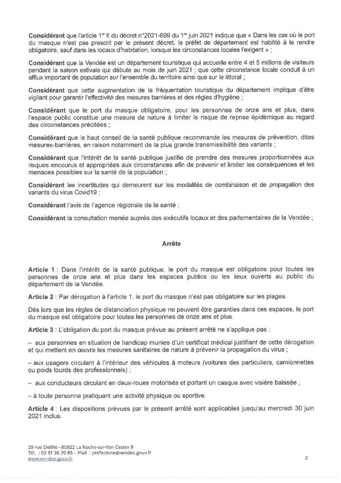 Evolution de l'obligation du port du masque pour les personnes de onze et plus dans toutes les communes du département de la Vendée