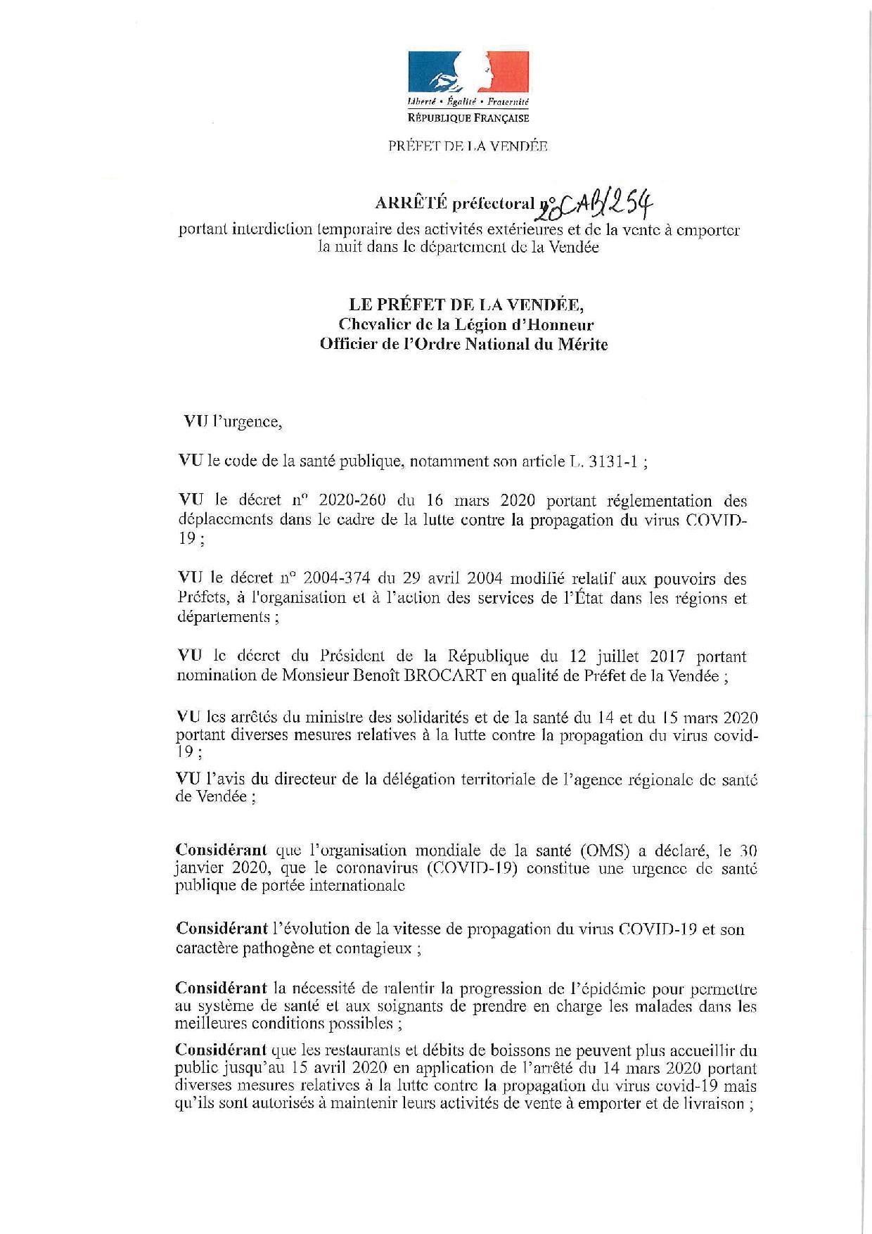 Activités extérieures et vente à emporter la nuit dans le département de la Vendée