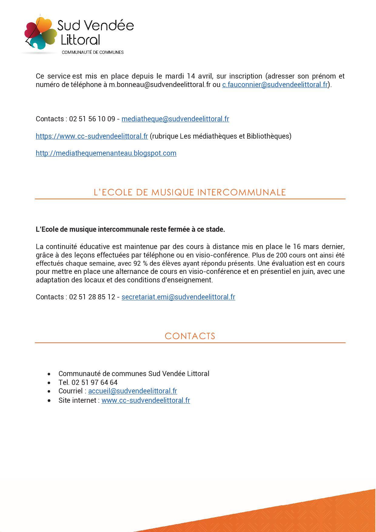 Communauté de Communes: service à la population -  mesures de déconfinement