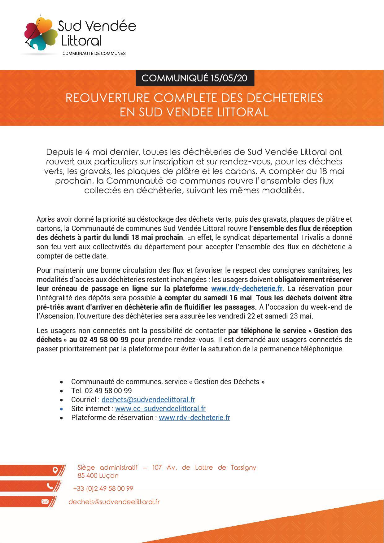 Réouverture complète des déchèteries en Sud Vendée Littoral