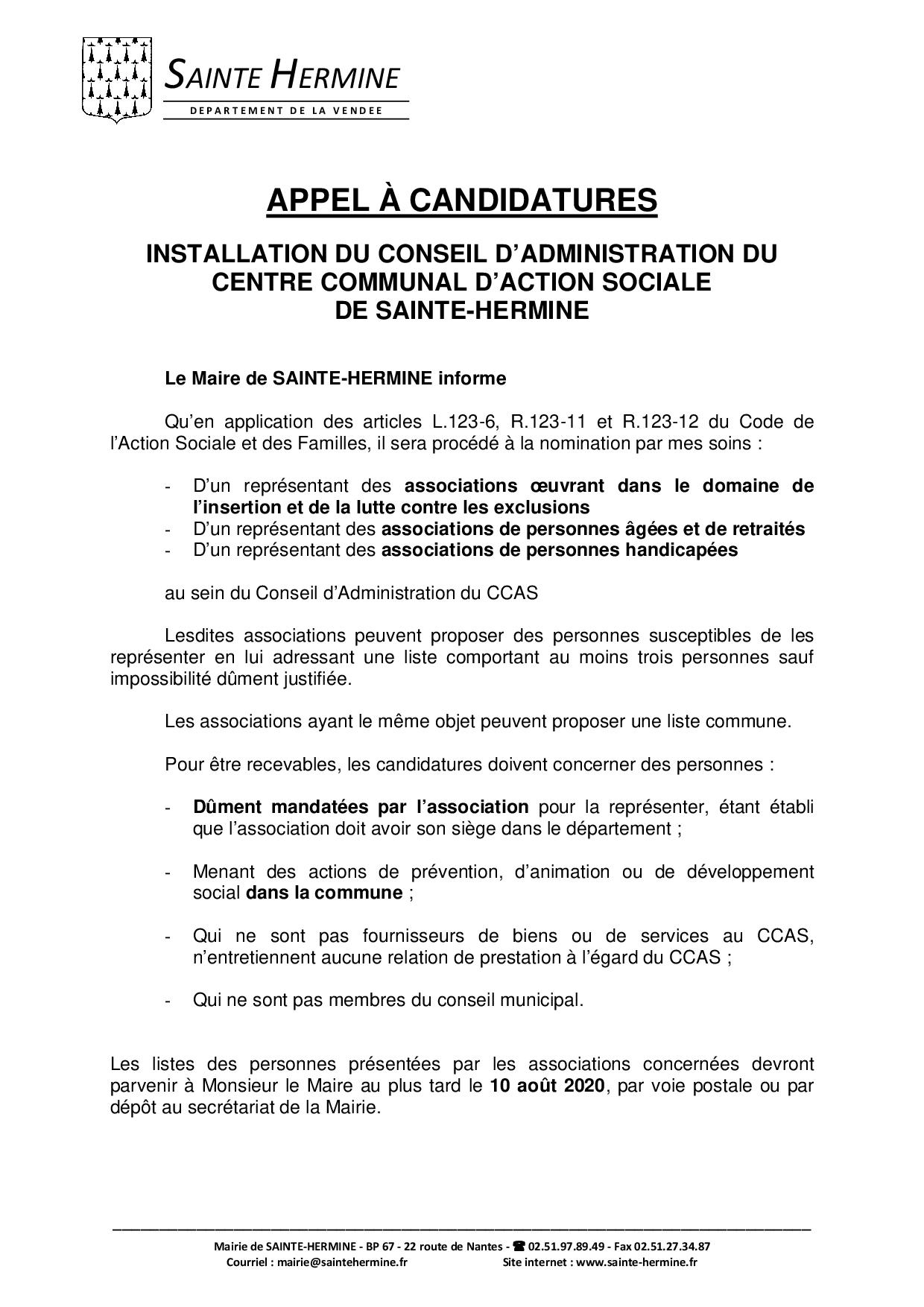 INSTALLATION DU CCAS - APPEL À CANDIDATURE