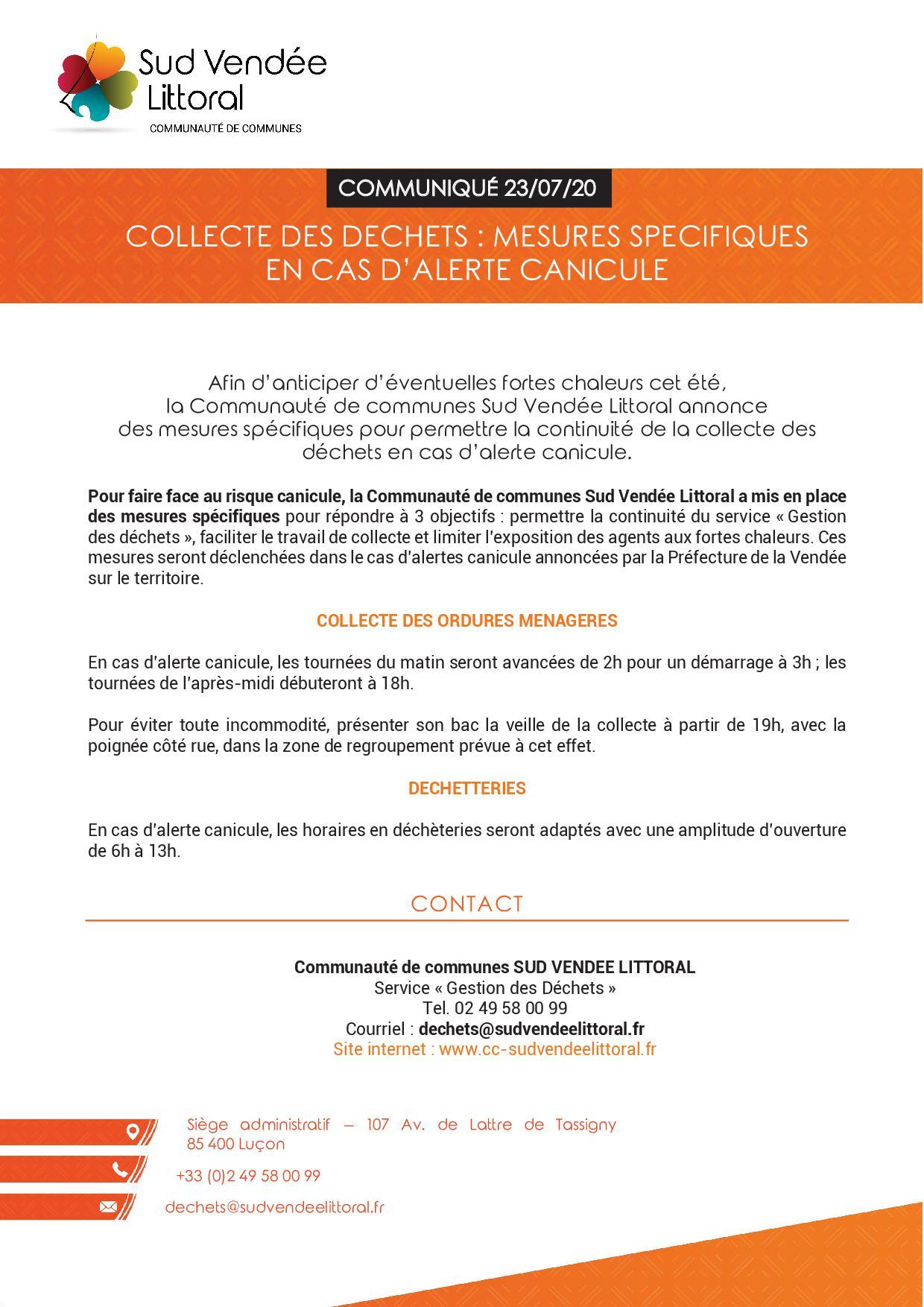 Collecte des déchets: mesures spécifiques en cas d'alerte canicule