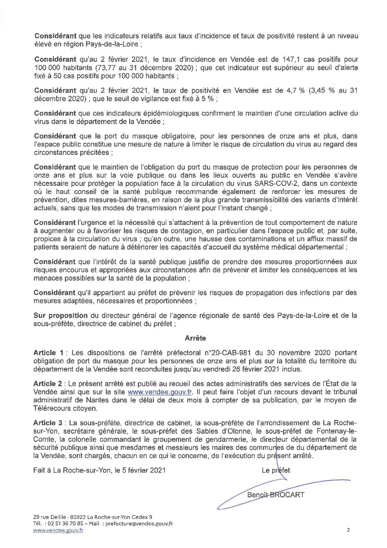 Obligation du port du masque sur l'ensemble du territoire de la Vendée jusqu'au 26 février 2021 inclus