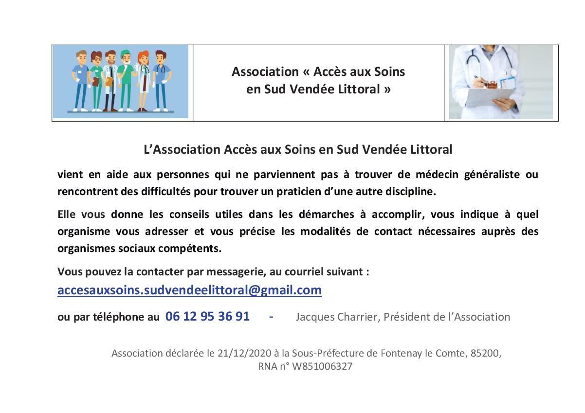 """Création de l'association AS-SVL """"Accès aux Soins en Sud Vendée Littoral"""""""