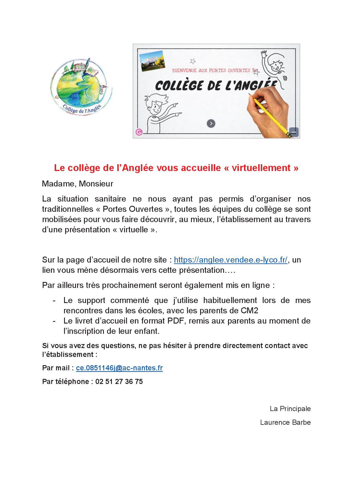 """Le Collège de l'Anglée vous accueille """"virtuellement"""""""