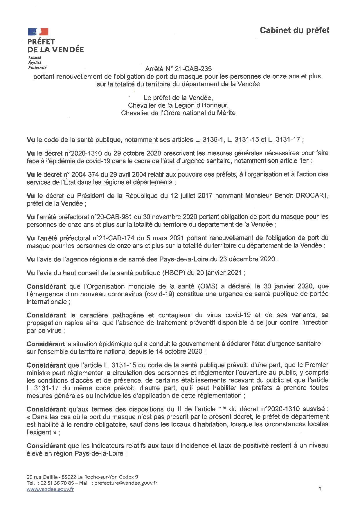 Renouvellement de l'obligation du port du masque pour les personnes de onze ans et plus sur la totalité du territoire du Département de la Vendée jusqu'au lundi 26 avril 2021 inclus