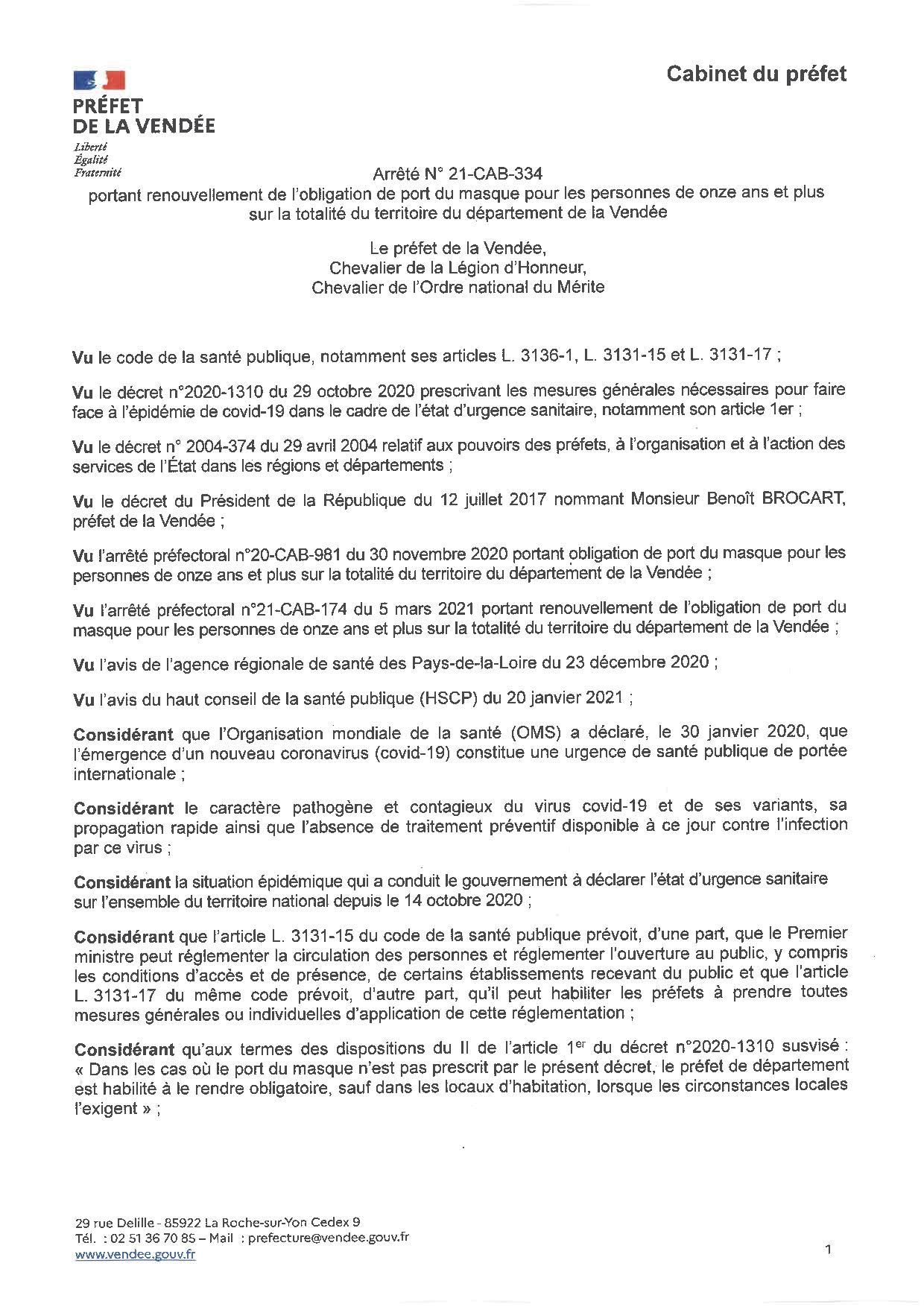 Obligation du port du masque pour les personnes de onze et plus sur la totalité du territoire du département de la Vendée jusqu'au mercredi 19 mai 2021 inclus.