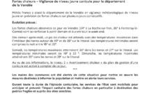Communiqué de presse - Fortes Chaleurs - vigilance de niveau jaune canicule pour le département de la Vendée