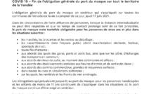 Fin de l'obligation générale du port du masque sur tout le territoire de la Vendée
